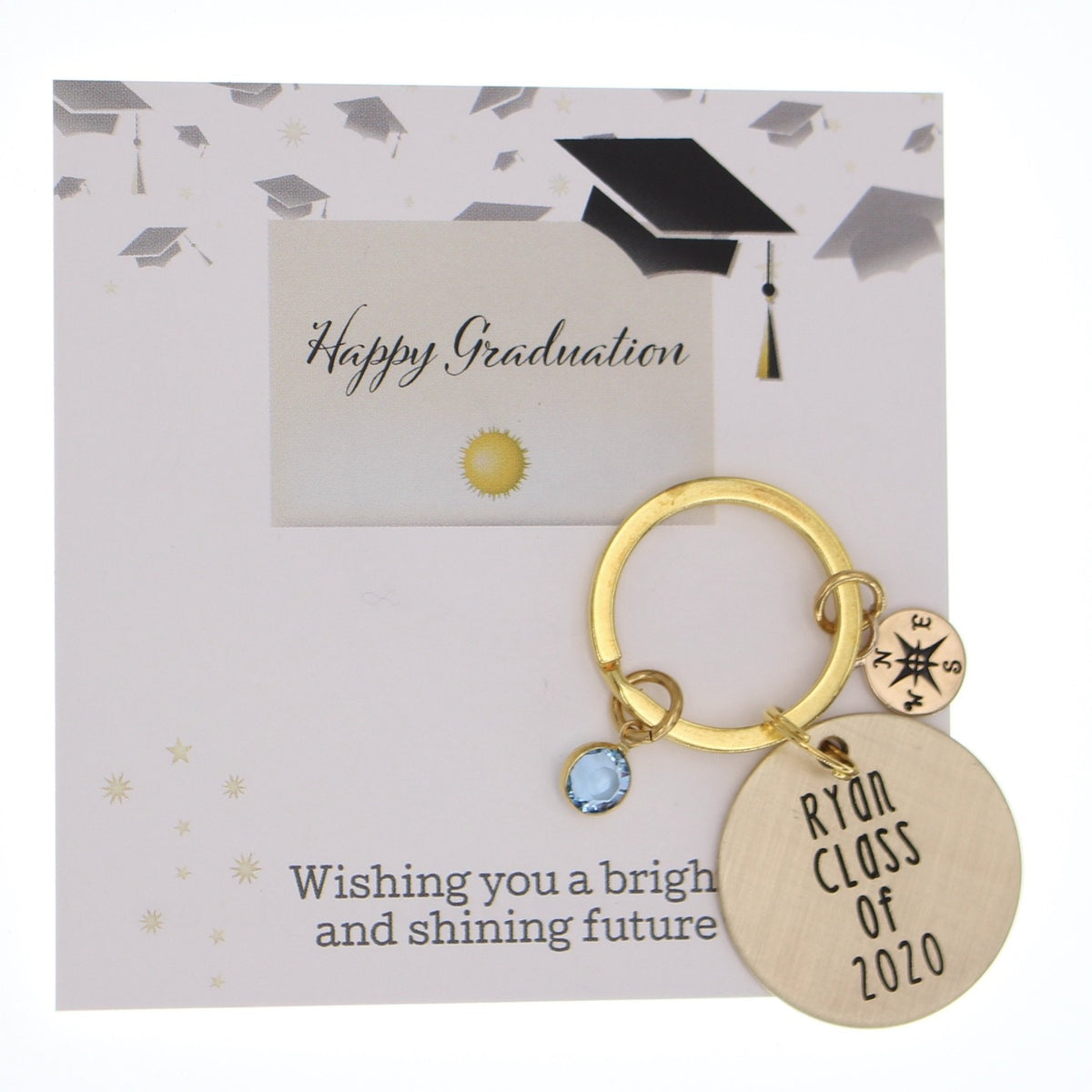 Graduation Compass Keychain - Love It Personalized