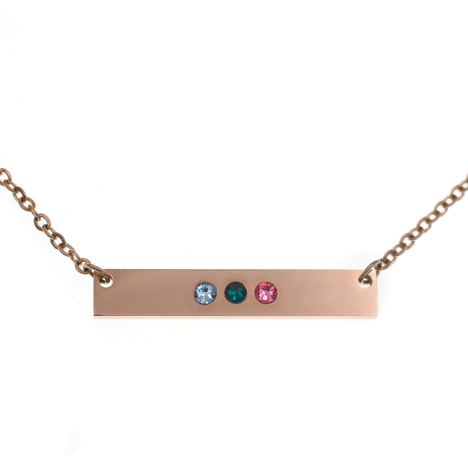 Rose Gold Horizontal Birthstone Bar Necklace - Love It Personalized