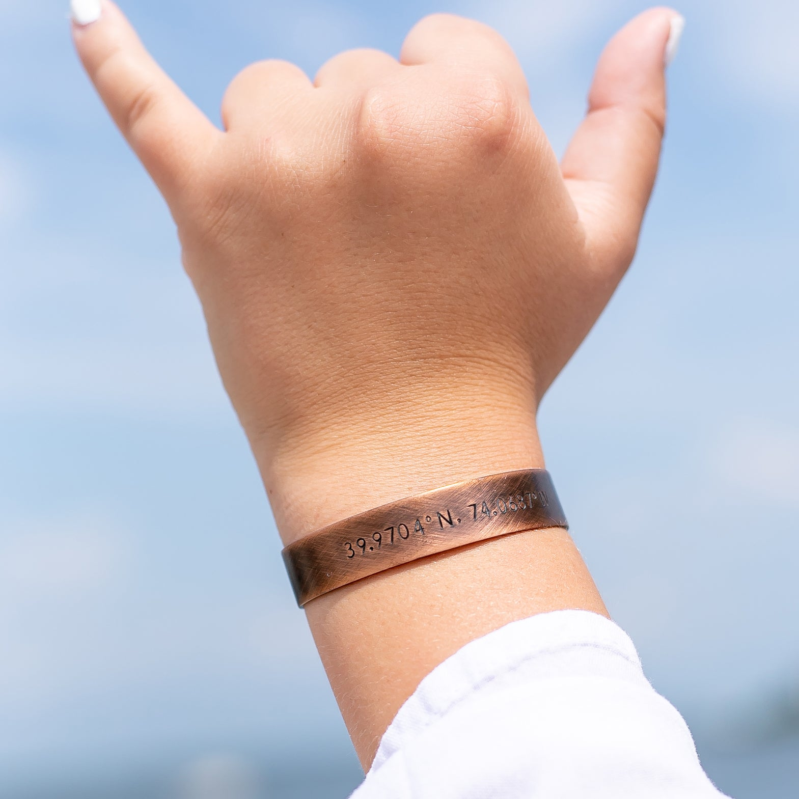 GPS Coordinates Copper Cuff Bracelet - Love It Personalized