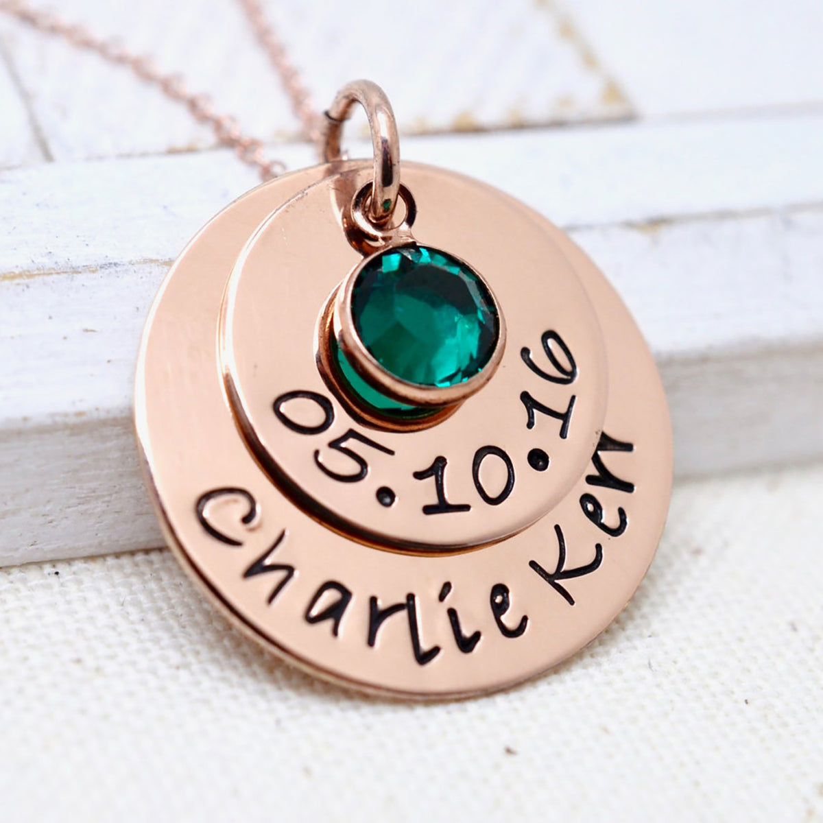 Rose Gold Date and Name Birthstone Necklace - Love It Personalized