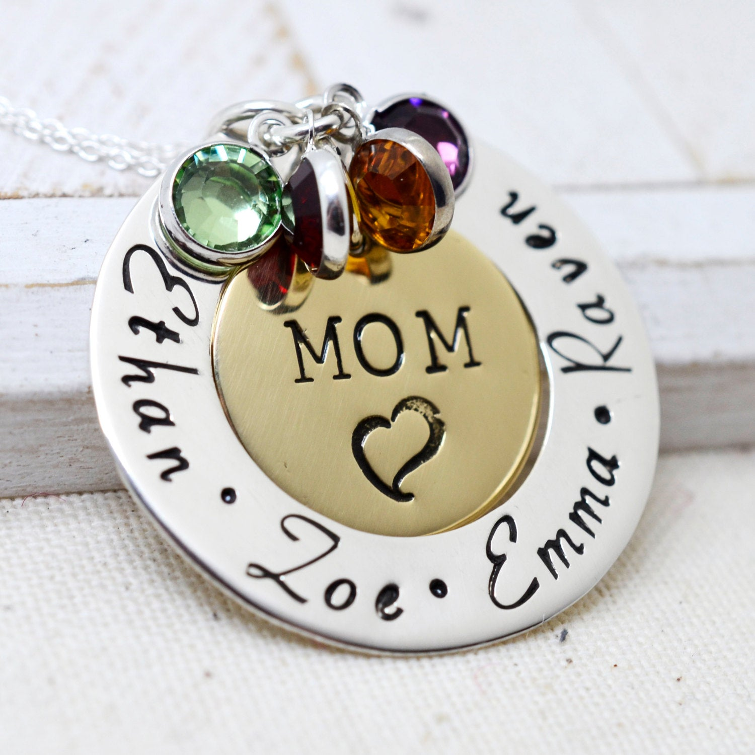 Personalized Mom Necklace with Birthstones - Love It Personalized