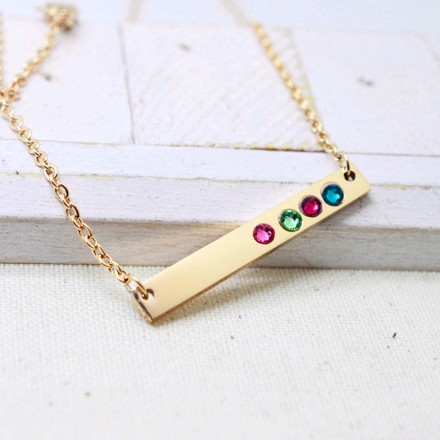 Gold Horizontal Birthstone Bar Necklace - Love It Personalized
