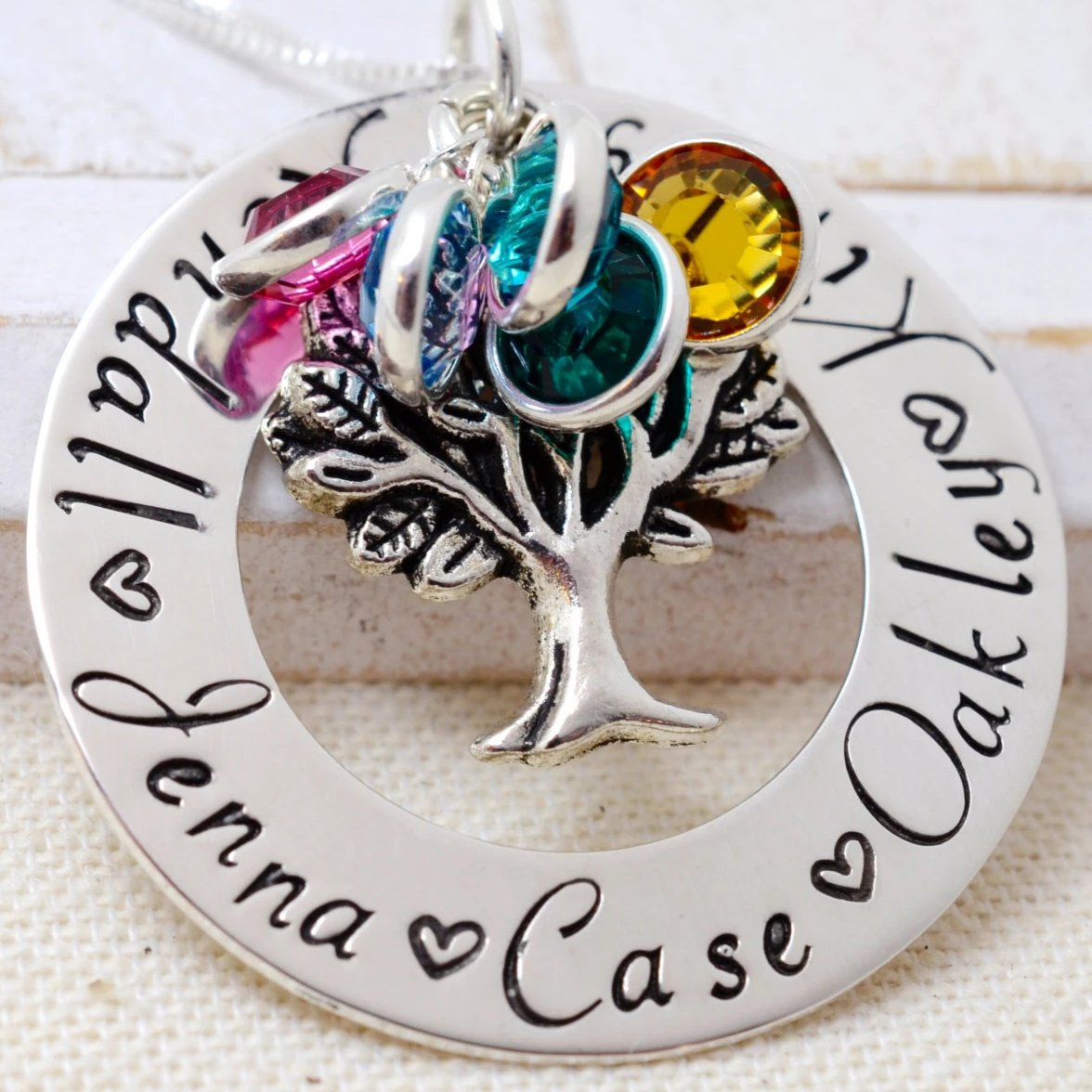 Family Tree Charm Birthstone Necklace - Love It Personalized