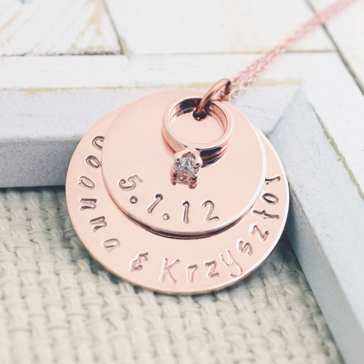 Rose Gold Wedding Ring Necklace - Love It Personalized