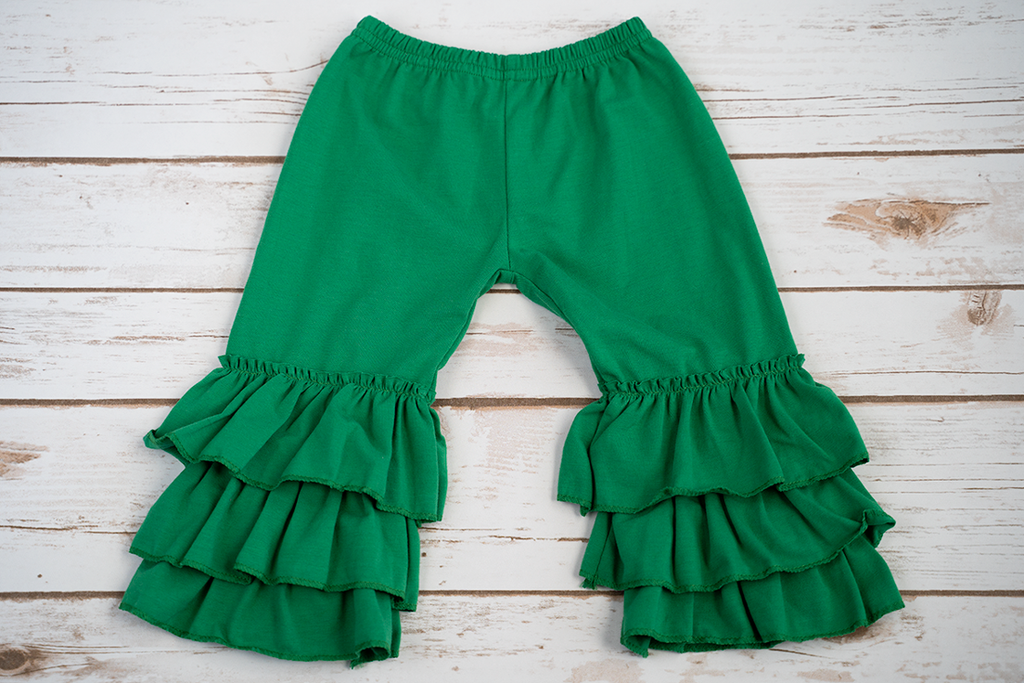 Green Tiered Ruffle Pants