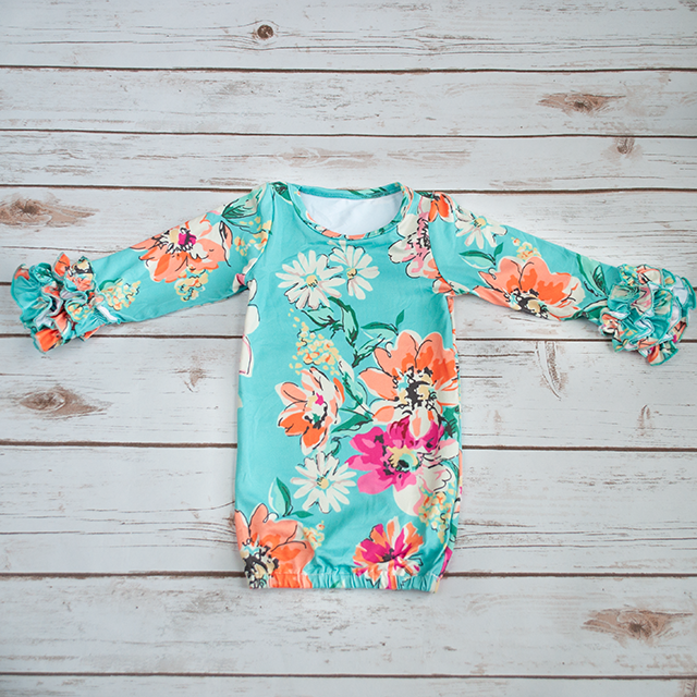 Turquoise Floral Infant Gown