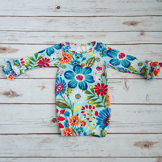 Blue Floral Infant Gown