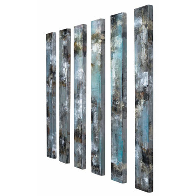 tall narrow panels of metal art by peter skidd