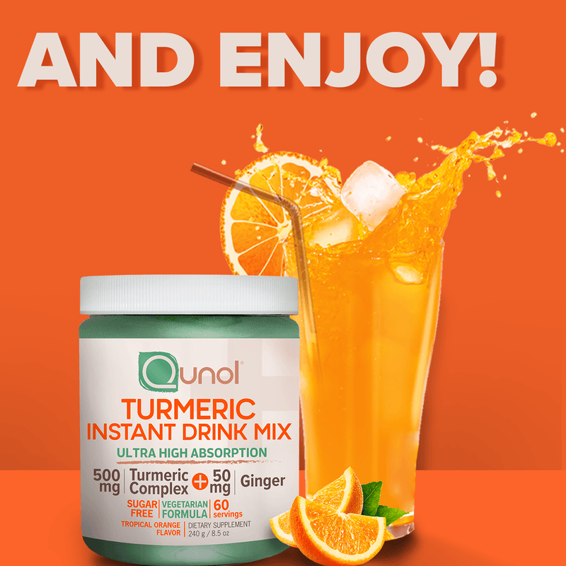 Qunol®️ Vegetarian Turmeric Instant Drink Mix with Natural Sweetener, 60 Servings