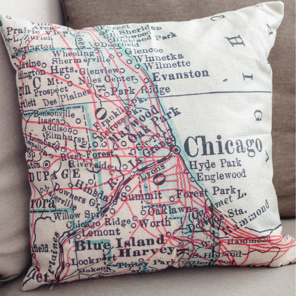 Map of Chicago Pillow