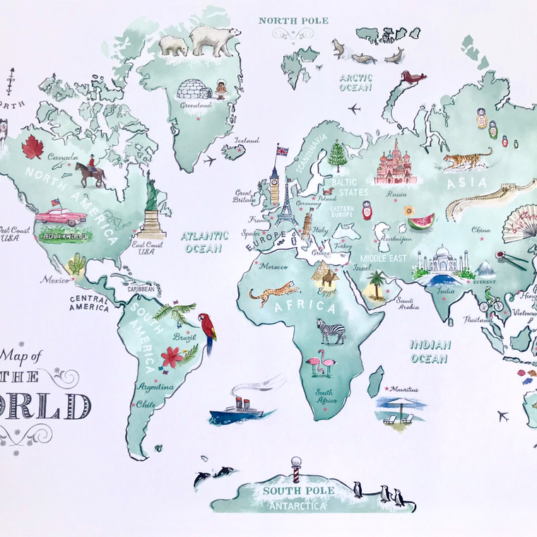 Illustrated World Map Wall Poster for Children