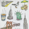 Set of New York City and Hipster Stickers
