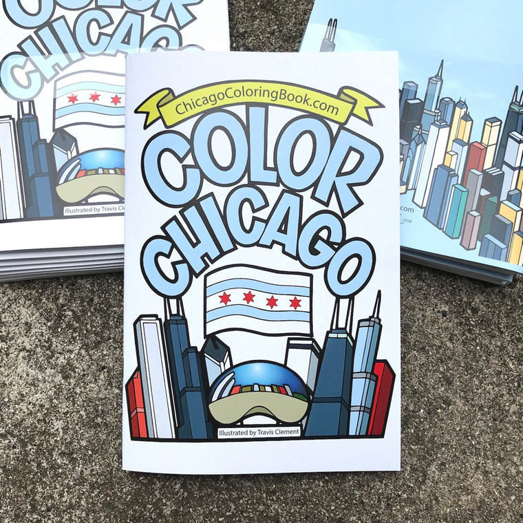 Chicago Coloring Book Set (includes colored pencils)