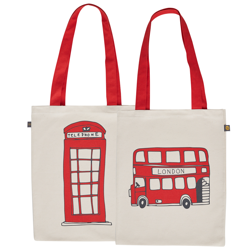 Tote Bag with Classic Red London Bus & Phone Box