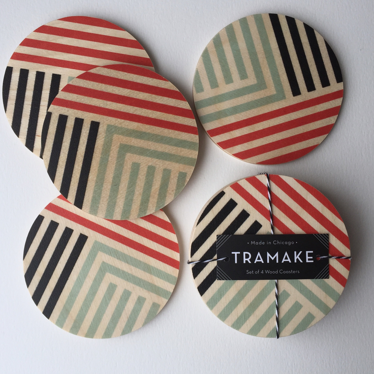 "Modern ""Lines"" Beverage Coasters - Handmade in Chicago"