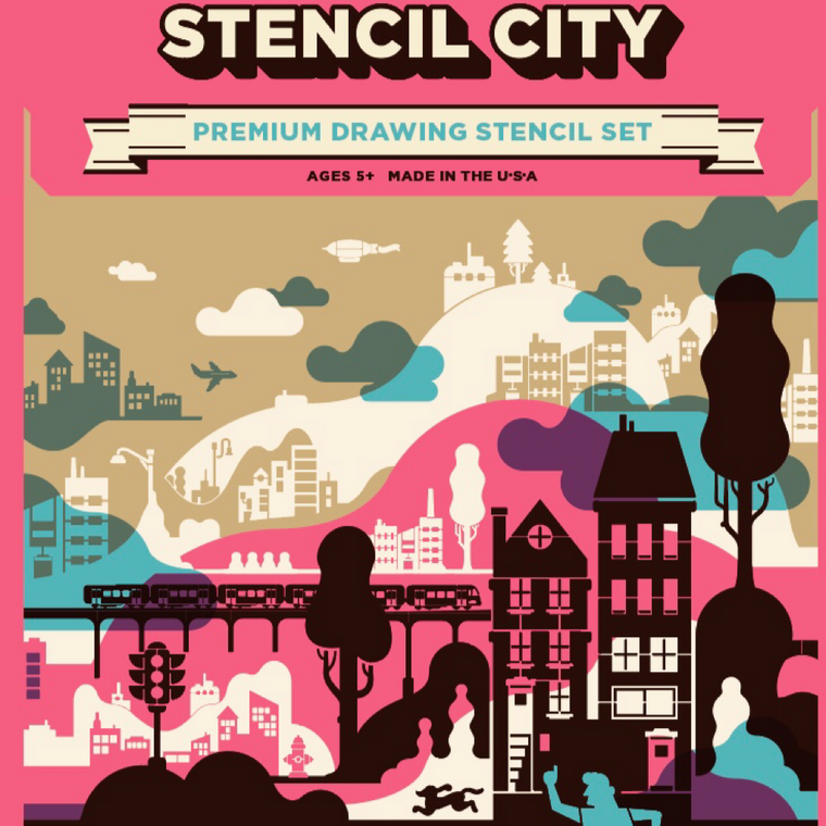 """Draw Your Own City"" Stencil Set for Kids, from a Chicago toy maker"