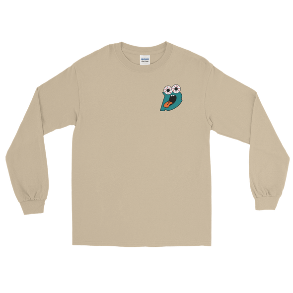 Drew Rez - Tan Long Sleeve - Teal Print