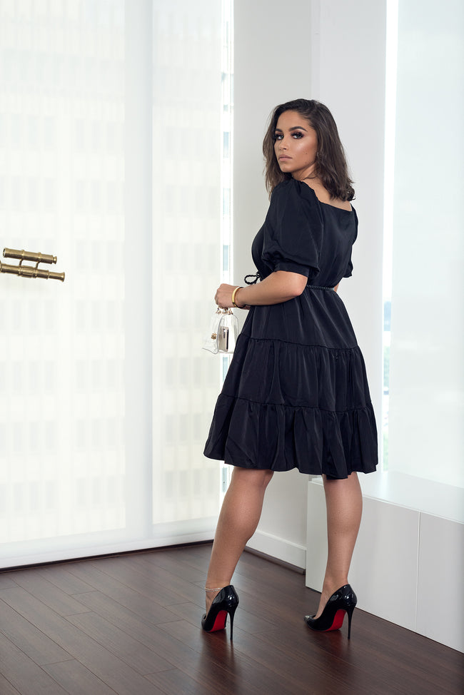 MINA PUFF SLEEVE BELTED DRESS - UVM Collection