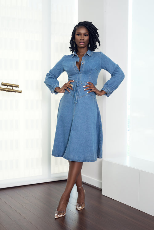 BUTTON UP DENIM DRESS - UVM Collection