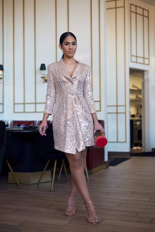 RAYNA SEQUINS BLAZER DRESS - UVM Collection