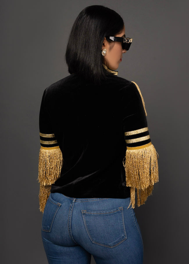 FORANI VELVET FRINGE JACKET - UVM Collection