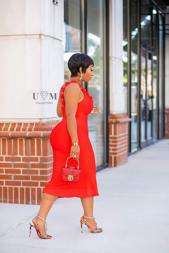 RED ROSEY DRESS - UVM Collection