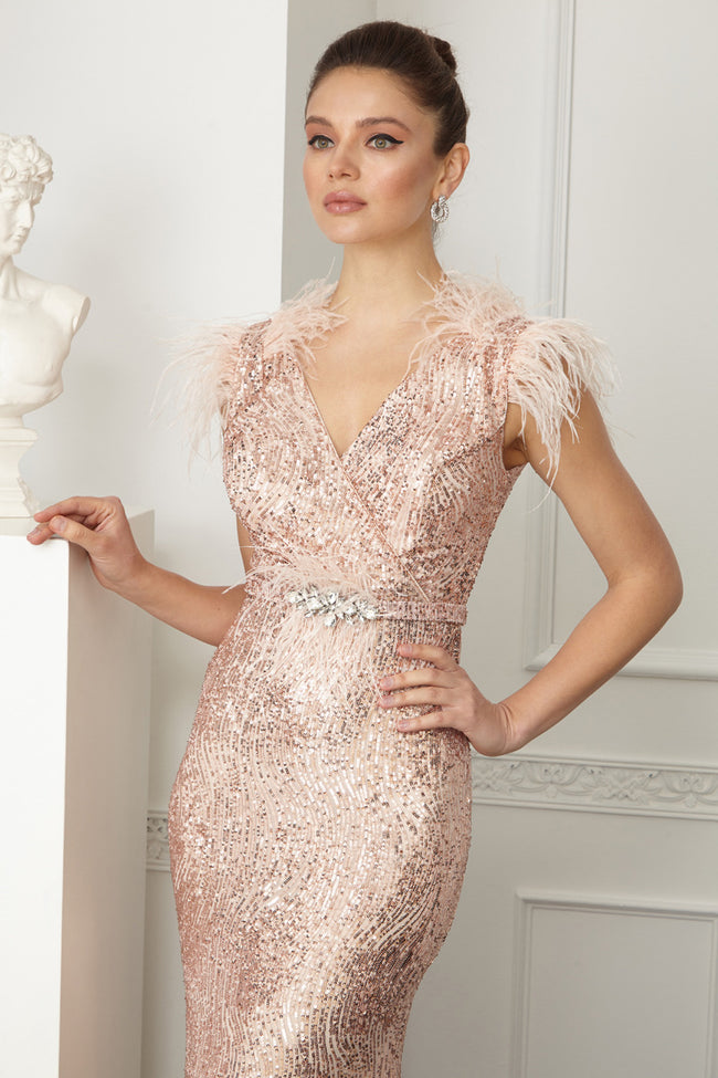 YOLANDA FEATHER SEQUINED DRESS - UVM Collection
