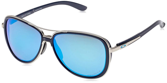 Oakley Women's OO4129 Split Time Aviator Metal Sunglasses, Navy/Prizm Sapphire Polarized, 58 mm