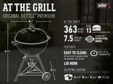 Weber 14407001 Original Kettle Premium Charcoal Grill, 22-Inch, Green
