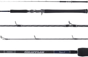 Shimano Grappler Type J Saltwater Conventional Jigging Fishing Rods, Moderate-Fast Action, Spiral-X and Hi-Power X Construction, Fuji Alconite Guides and SiC Tip