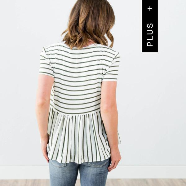 Emma Stripe Top in Olive