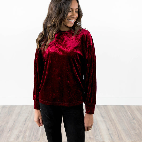 Mary Velvet Top in Burgundy