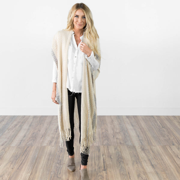 Nevaeh Scarf Cardigan in Ivory