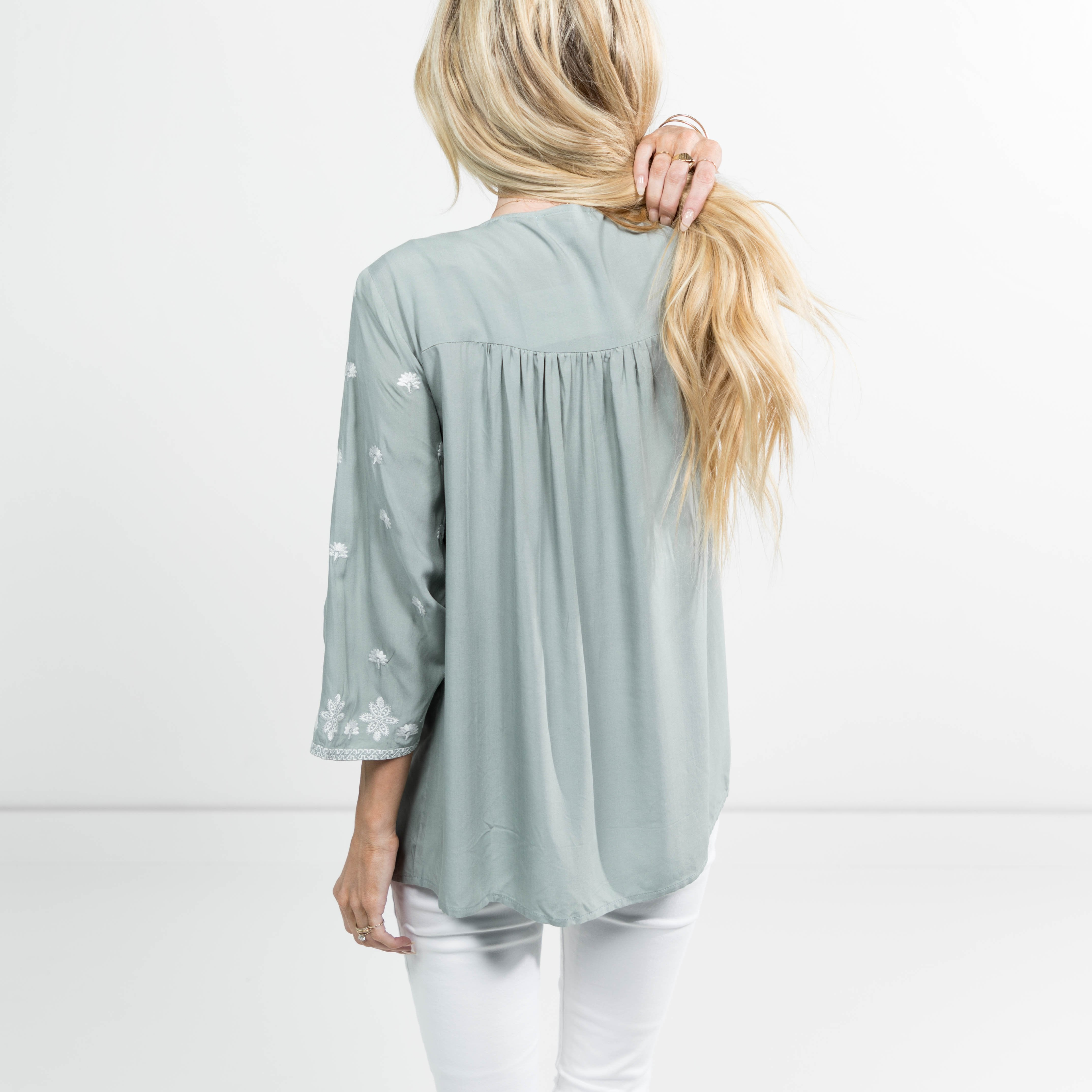 Kimberly Embroidered Top in Sage