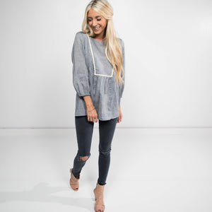 Sanford Long Sleeve Top in Grey
