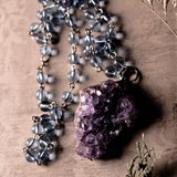 Amethyst Quartz And Sky Blue Beads Statement Necklace (one of a kind)