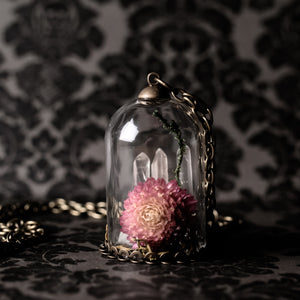 Immortality Gomphrena And Quartz Bell Jar Necklace