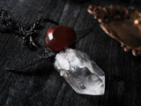 Winged Lemurian Seed Quartz And Carnelian Statement Necklace