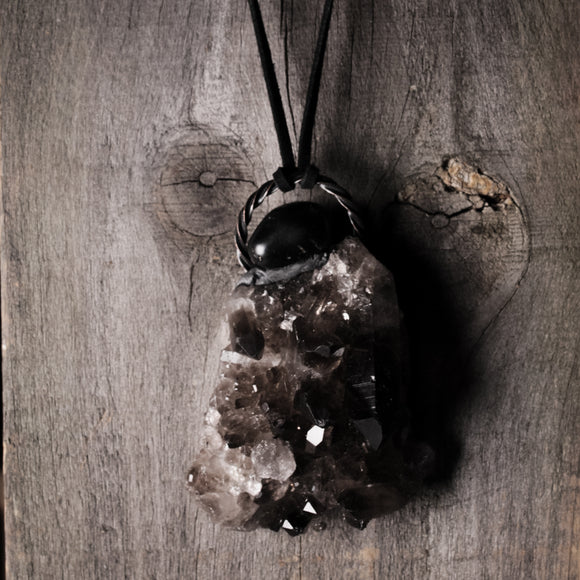 Massive Smoky Quartz And Onyx Statement Necklace