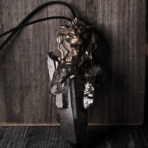 Massive Smoky Quartz Baroque Lion Head Statement Necklace