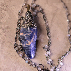 Lapis Lazuli And Labrodorite Statement Necklace (one of a kind)