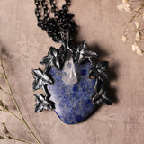 Lapis Lazuli, Black Ivy, And Quartz Statement Necklace (One Of A Kind)