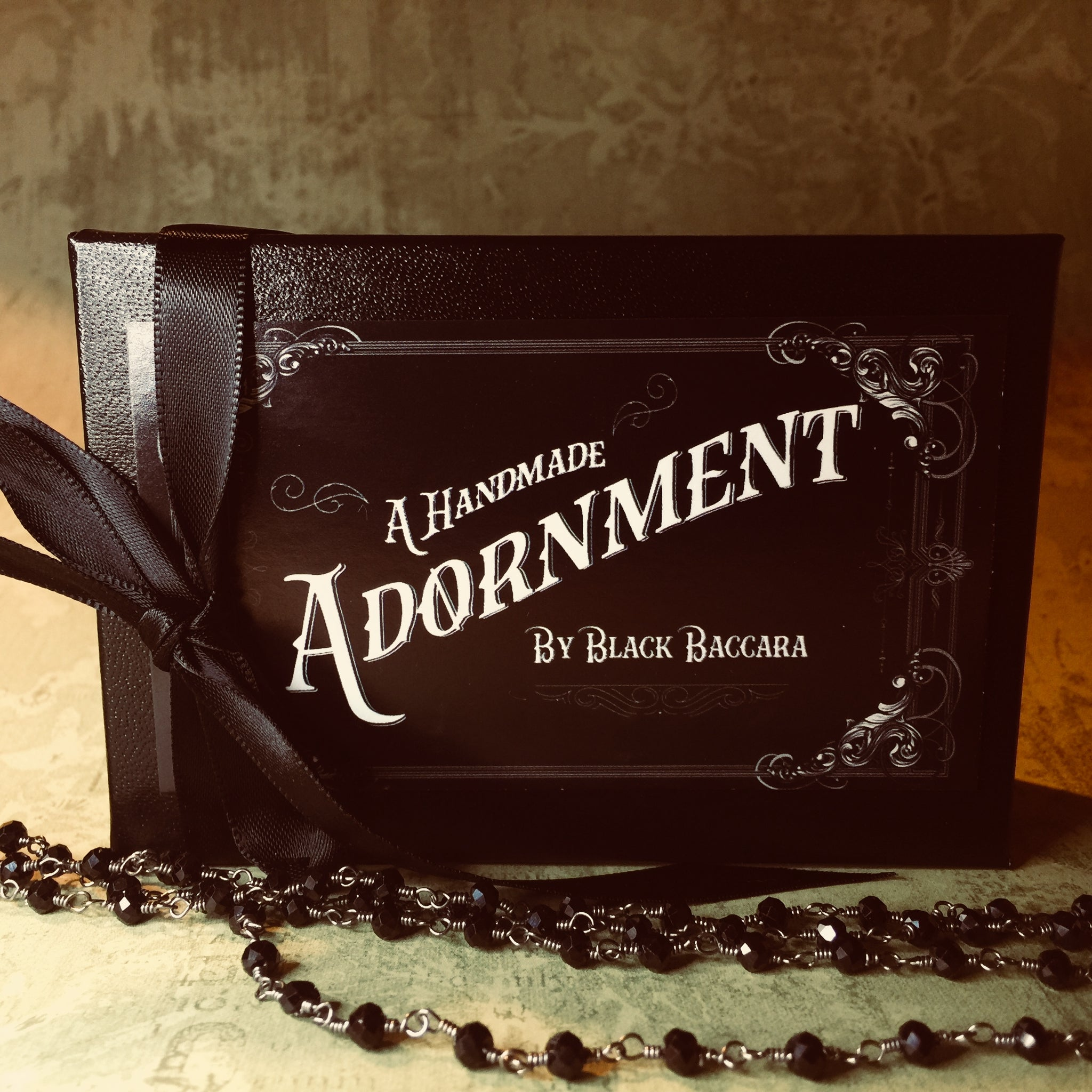 Black Tourmaline And Black Glass Rosary Amulet Necklace (One