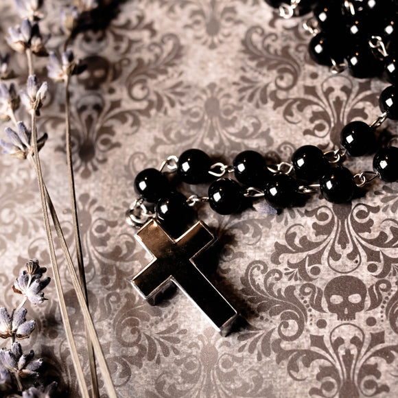 Black Cross Rosary Perfume Or Memorial Necklace