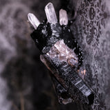The Dark Queen Statement Necklace Amulet: Massive Smoky Quartz And Brazilian Clear Quartz