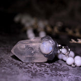 Lightworker Statement Necklace Amulet: Clear Quartz And Rainbow Moonstone (One Of A Kind)