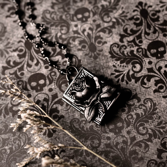 Black Rose Book Locket Necklace (Seven Available)