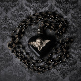 Large Gothic Angel Black Heart Perfume Bottle Necklace (One Of A Kind)