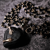 Victorian Hands Black Heart Perfume Bottle Necklace (One Of A Kind)