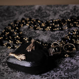 Victorian Hands Black Heart Perfume Bottle Necklace